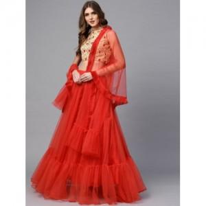 2a761c6b57a Inddus Red   Beige Embroidered Semi-Stitched Lehenga   Choli with Dupatta