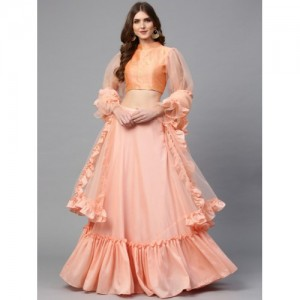 7add68cdd1c Inddus Peach-Coloured Solid Semi-Stitched Lehenga   Unstitched Blouse with  Dupatta