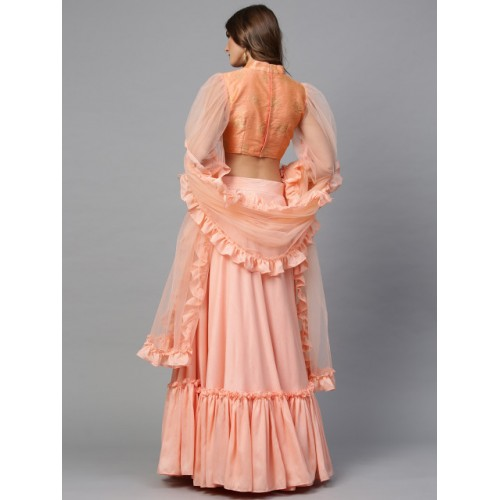 Inddus Peach-Coloured Solid Semi-Stitched Lehenga & Unstitched Blouse with Dupatta