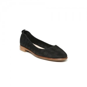 Clarks Women Black Cut-Out Leather Ballerinas