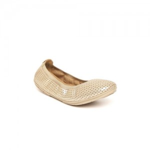 Clarks Women Gold-Toned Perforated Leather Ballerinas