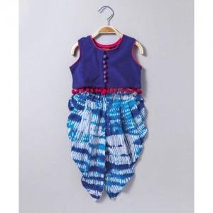 Twisha Blue Cotton Knit Sleeveless Top With Pom Pom Trim & Shibori Dhoti