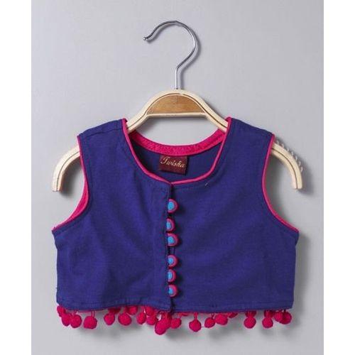 Twisha Blue Cotton Knit Sleeveless Top With Pom Pom Trim & Shibori Dhoti