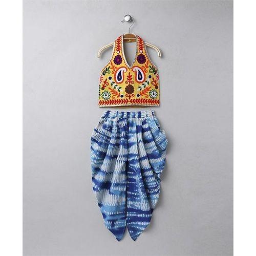 Twisha Yellow & Blue Dhoti With Halter Neck Aari Embroidery Top
