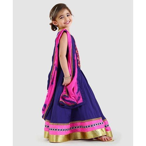 Li&Li Boutique Blue Batik Design Sleeveless Choli & Lehenga Set With Dupatta