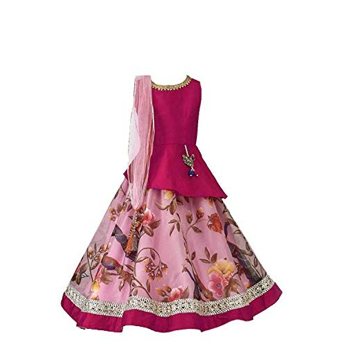 Generic Pink Cotton Polyester Lace Work Lehengha