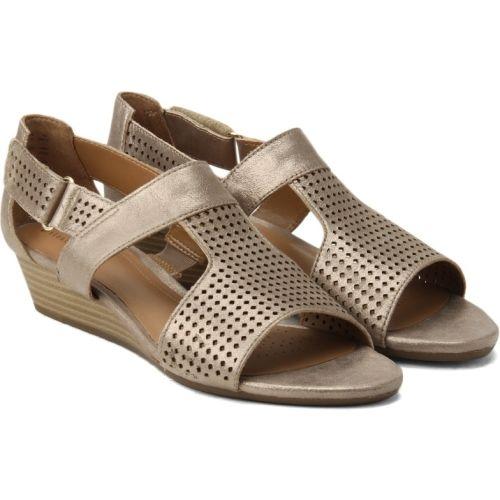 Buy Clarks Women Metallic Leather Wedges online | Looksgud.in