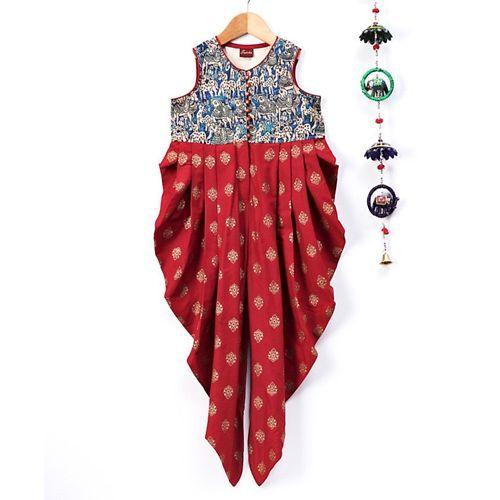 Twisha Kalamkari Print Sleeveless Jumpsuit - Red