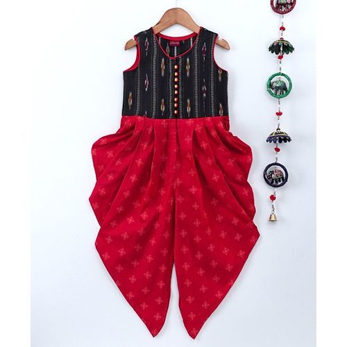 Twisha Sleeveless Ikat Print Yoke Jumpsuit - Red