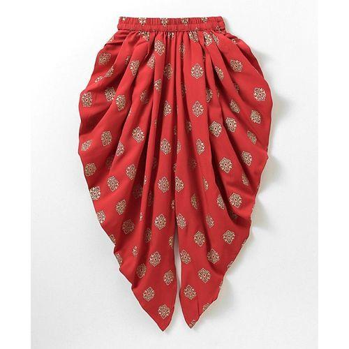 Twisha Cold Shoulder Floral Choli With Printed Dhoti Set - Red & Yellow