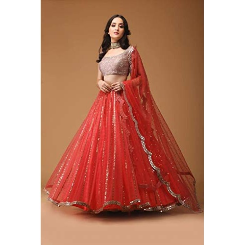 Mashur fabwomen's Red Embroidered Semi Stitched lehengas