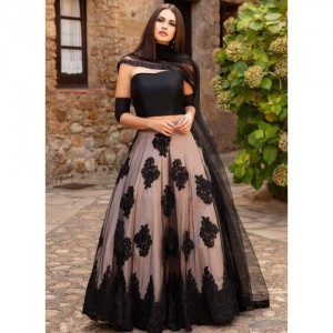 PK Enterprise Black Embroidered Semi Stitched lehengas