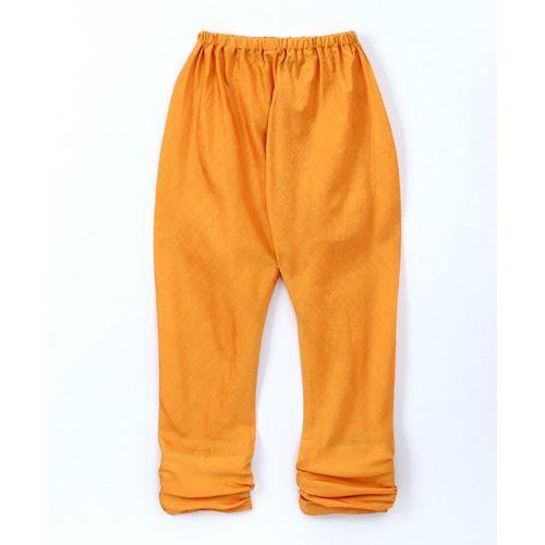 Twisha Full Sleeves Kurta & Pyjama Set With Ikat Print Jacket - Yellow