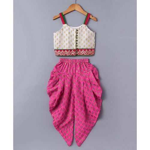 Twisha White & Pink Top & Printed Dhoti Set