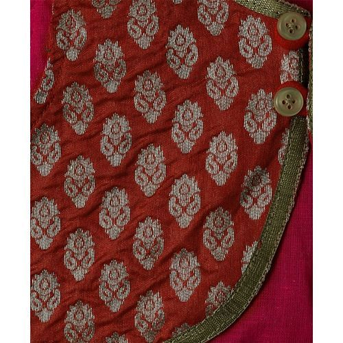 Twisha Brocade Jacket & Dhoti Set - Red