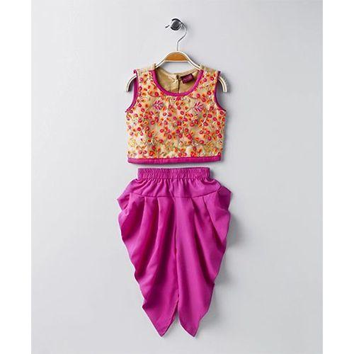Twisha Embroidered Blouse With Dhoti - Orange