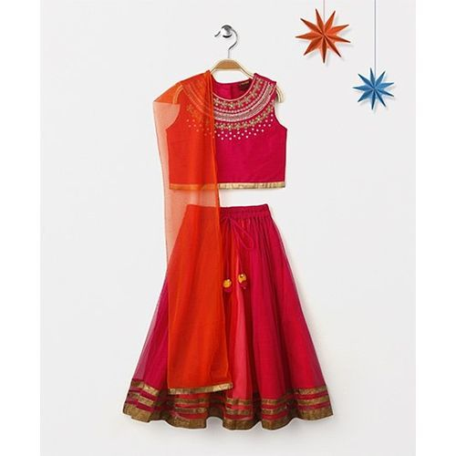 Twisha Lehanga With Embroidered Choli & Dupatta - Fuschia
