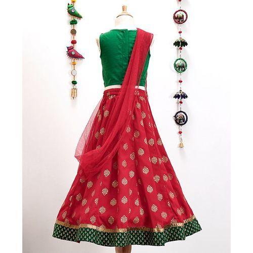 Twisha Embroidered Choli & Lehenga With Dupatta Set - Red