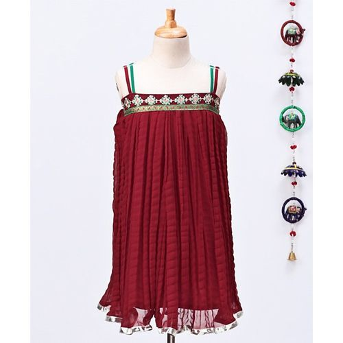 Twisha Flower Design Sleeveless Dress - Maroon