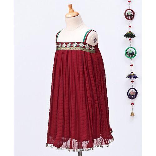 Twisha Flower Design Sleeveless Dress - Maroon