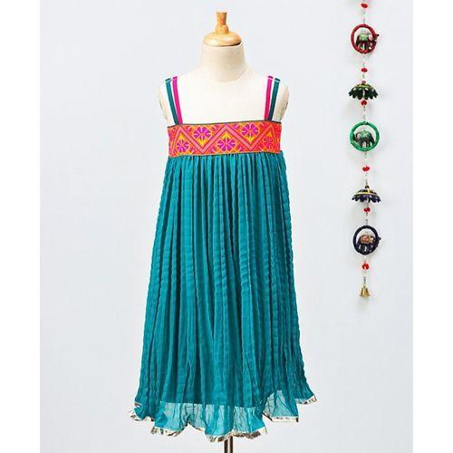 Twisha Flower Design Sleeveless Dress - Blue