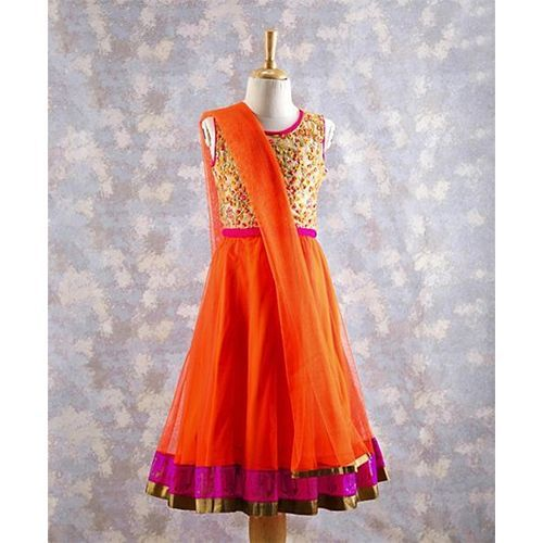 Twisha Embroidered Sleeveless Choli With Lehenga & Dupatta - Orange