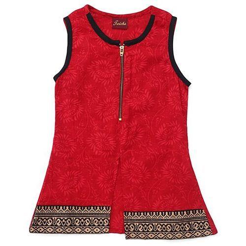 TwishaPrinted Long Kurta With Zipper & Crush Palazzo - Red