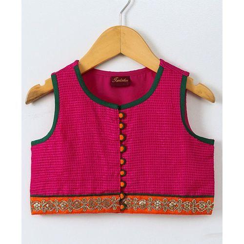 Twisha Self Checks Sleeveless Top & Printed Palazzo - Pink & Green