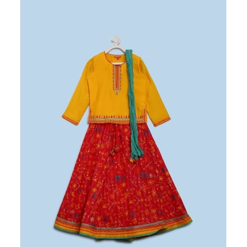 Biba Red & Yellow Cotton Solid Lehenga Choli With Dupatta Set