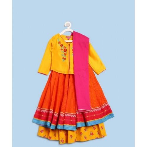 Biba Multicolour Cotton Ethnic Wear Solid Ghagra, Choli, Dupatta Set