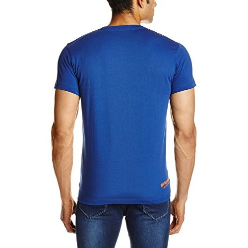 Lee Blue Cotton Slim Fit Printed Casual T-Shirts