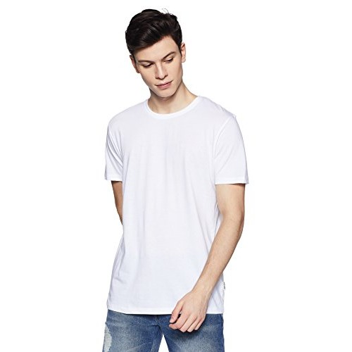 Lee White Cotton Solid Slim Fit Casual T-Shirts