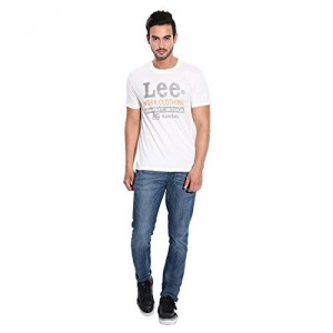 Lee Off White Cotton Round Neck Printed T-Shirts