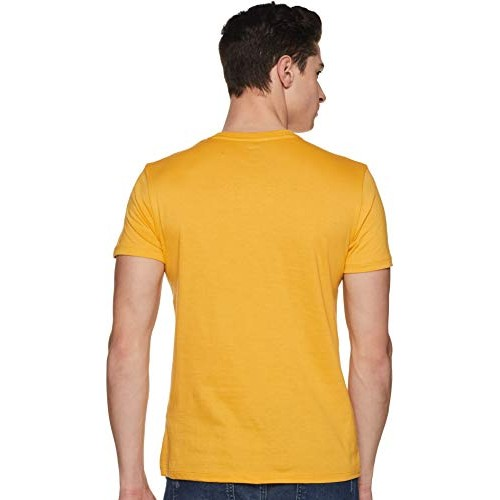 Lee Yellow Cotton Printed Slim Fit Casual T-Shirts