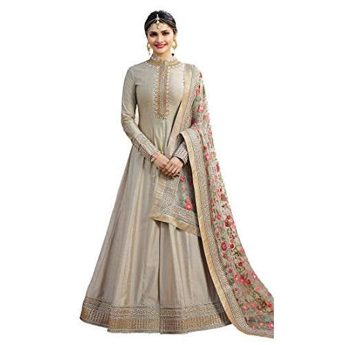 VD Enterprise Grey Net Gown Style Embroidered Party Traditional Wear Anarkali Gown