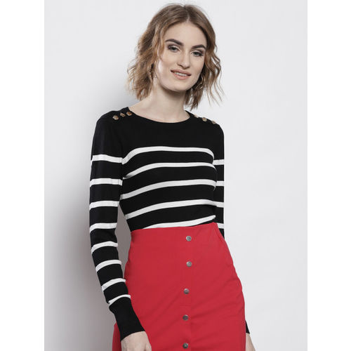 DOROTHY PERKINS Women Black & White Striped Pullover