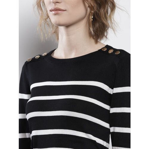 DOROTHY PERKINS Women Black & White Striped Pullover