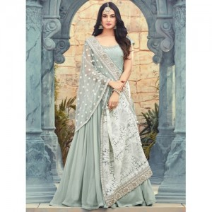 Fashion Basket Grey faux Georgette Anarkali Gown With Dupatta