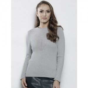d4df9ff3bedb2 Buy FOREVER 21 Women Charcoal Grey Ribbed Cropped Sweater online ...