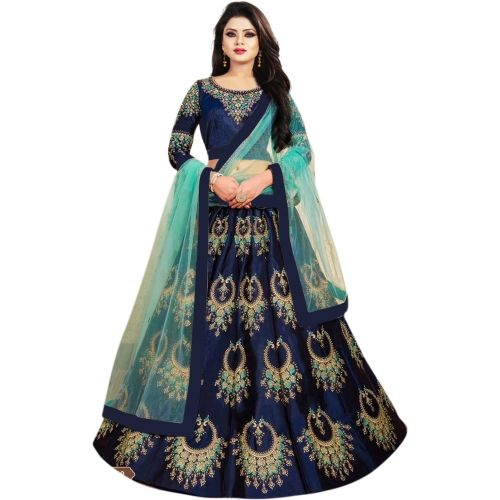 VILISA CREATION Blue Embroidered Semi Stitched Lehenga Choli