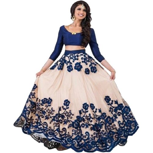 JSItaliya Embroidered Semi Stitched Lehenga, Choli and Dupatta Set