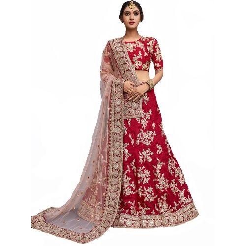 Panchhi nx Red Embroidered Semi Stitched Lehenga Choli