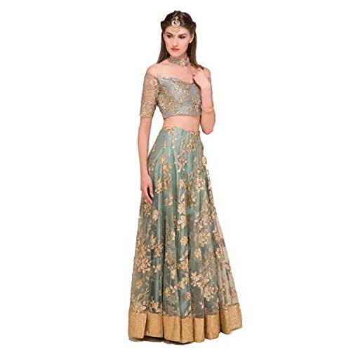 Ultrasav Grey Embroidered Semi Stitched lehengas