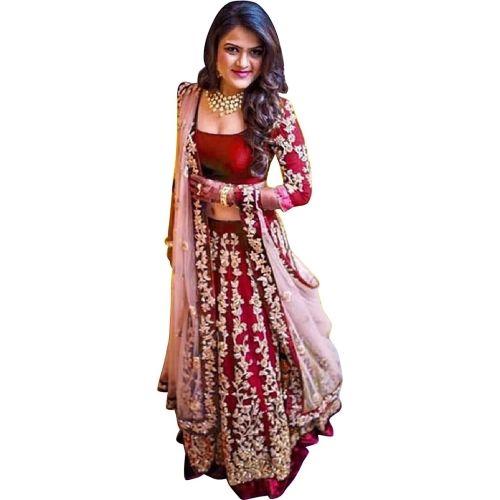 JSItaliya Self Design Semi Stitched Lehenga, Choli and Dupatta Set