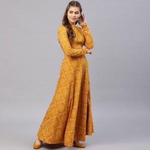 074a3bb31e AKS Mustard Yellow & White Bandhani Print Ready to Wear Lehenga with Blouse