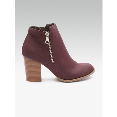 DOROTHY PERKINS Women Burgundy Solid Heeled Boots