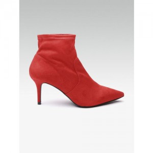 DOROTHY PERKINS Women Red Solid Mid-Top Heeled Boots