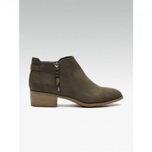 DOROTHY PERKINS Women Olive Green Solid Heeled Boots