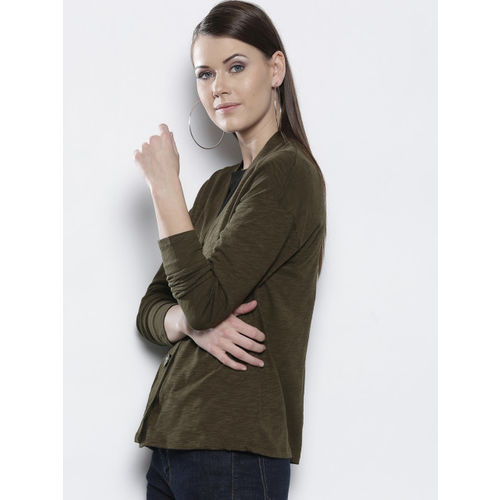 5f6f4a2672e Buy DOROTHY PERKINS Women Olive Green Solid Cardigan online ...