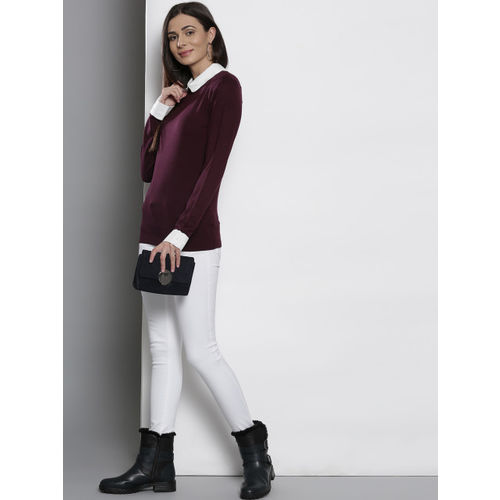 DOROTHY PERKINS Women Wine-Coloured Solid Pullover